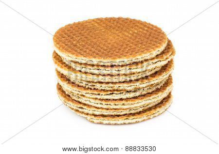 Stack of round waffles
