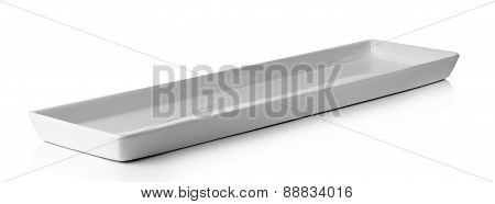 Long White Plate Isolated On A White Background