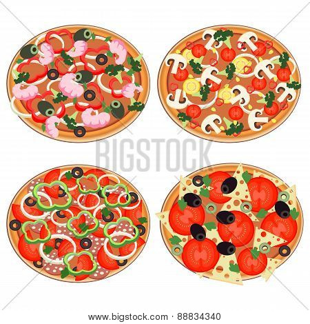 Pizza Icon Set In A Flat Style