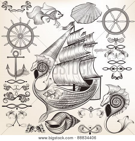 Collection Of Vector Calligraphic Elements On Theme Of Sea