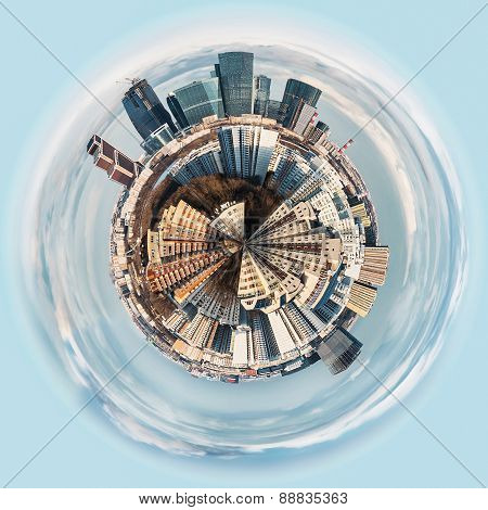 Spherical Panorama View On The District Of Moscow
