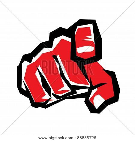 Pointing Finger Or Hand Pointing Symbol, Stylized Vector Icon