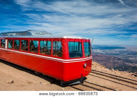 Pikes Peak Cog Train From Top Of Pike Peak, Colorado Springs, Co