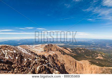 View From Pike Peak Summit, Colorado Springs, Co