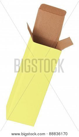 Yellow Cardboard Box On A White Background