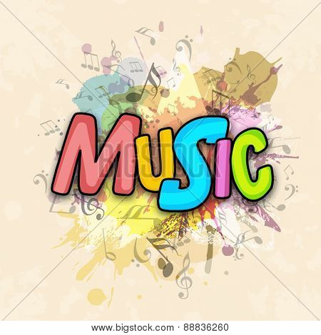 Colorful text Music with splash on vintage musical notes background.