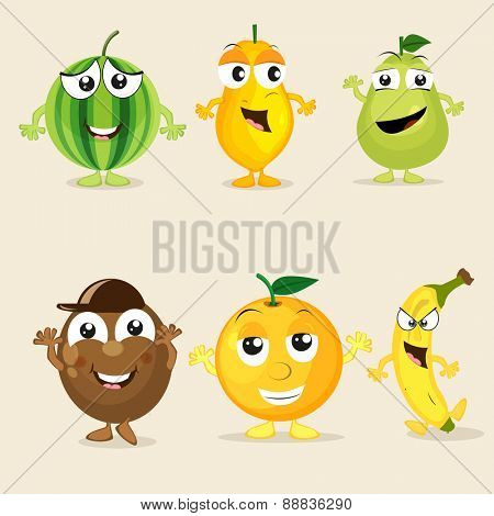 Funny cartoons of colorful fruits like watermelon, papaya, pear, kiwi, orange and banana on beige background.
