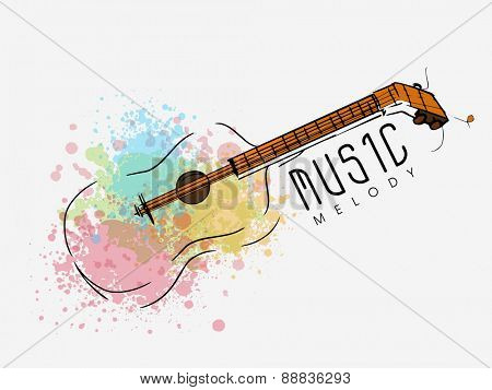 Stylish guitar with colorful splash for Music concept on white background.