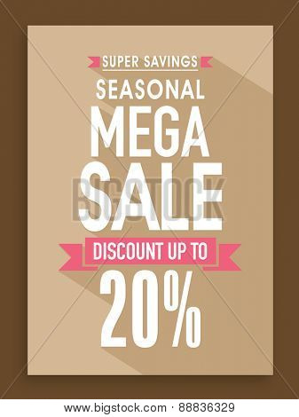 Seasonal Mega Sale poster, banner or flyer design with 20% discount offer.