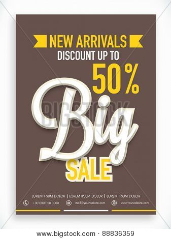 Stylish Big Sale poster, banner or flyer design with fantastic discount offer on new arrivals.