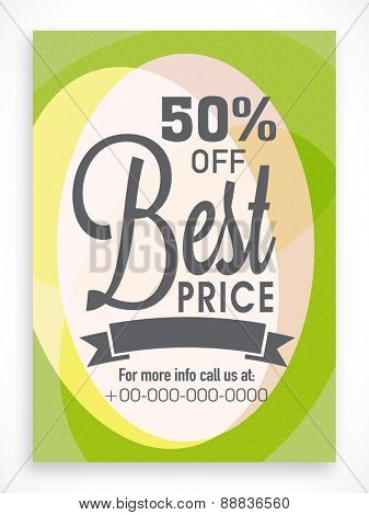 Creative poster, banner or flyer design of Best Price Sale with discount offer.