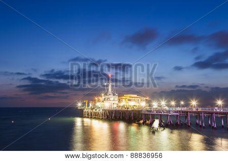 Santa Monica Pier After Sunset, California, Usa