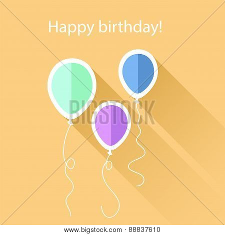 Greeting Card With Birthday Balloons