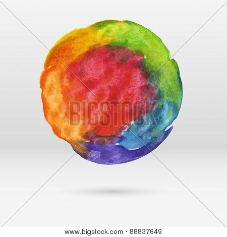 Vector Abstract Multicolor Watercolor Circle