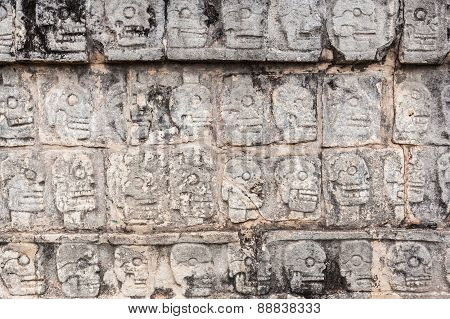 Ancient Wall In Chichen Itza Temple, Mexico