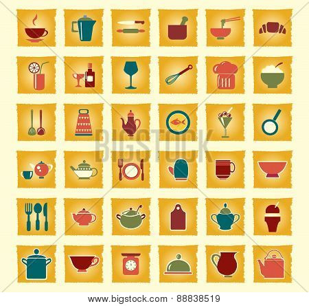 Vector Kitchen And Food Icons