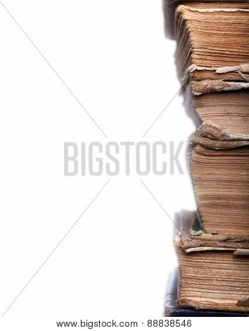 Old Books Shabby In Stack
