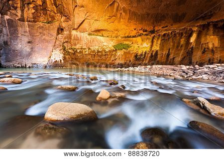 Sandstone Wall In The Narrows, Zion National Park, Utah