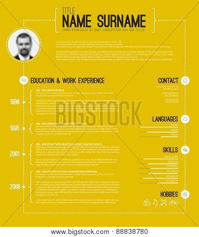 Vector minimalist cv / resume template with timeline - yellow version