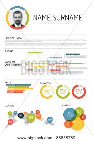 Vector original minimalist cv / resume template - with lot of infographic elements