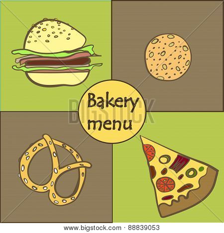 pattern vector card with baking fast food