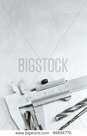 Vernier Caliper On Metal Background