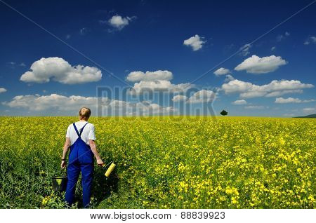 Man in the spring colza field under blue sky