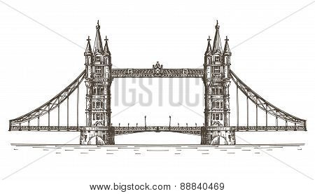 England, London, the bridge on a white background. sketch