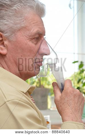 elderly man with the flu