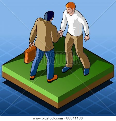 Isometric Infographic Business Agreement - Handshake