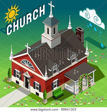 Isometric Rural Church Building