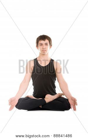 Padmasana With Fingers In Yogic Gesture Chin Mudra