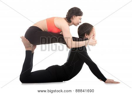 Acroyoga, Seated Forward Bend And Cobra Pose