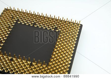 Processor Seen From The Gold Pins On A White Background.
