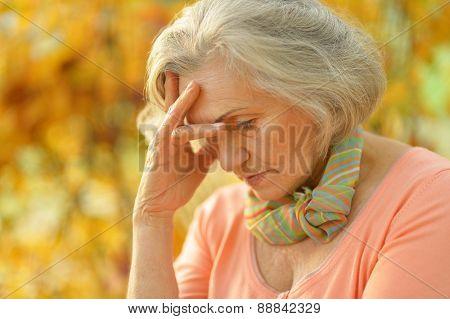 Upset old woman