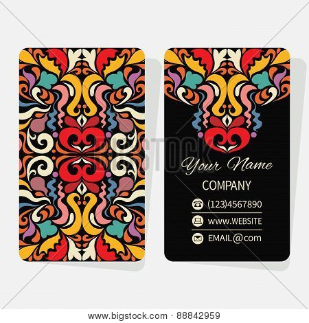 Vector template business cards with abstract geometric background