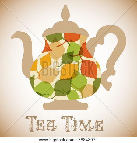 Vector teapot with leaves pattern. Tea time fashion illustration.