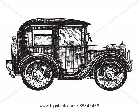 retro, vintage. car on a white background. sketch
