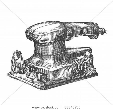 grinding machine on a white background. sketch