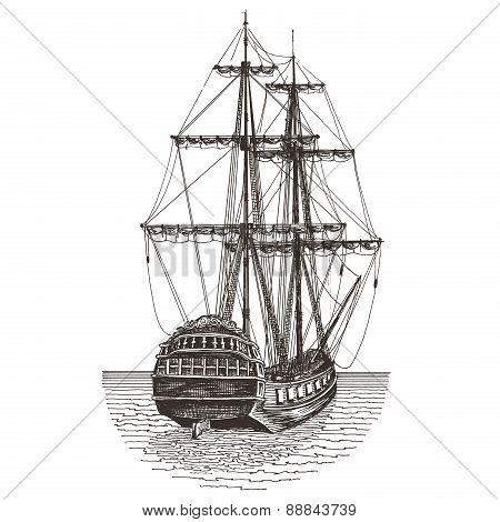 ship retro on a white background. illustration, sketch