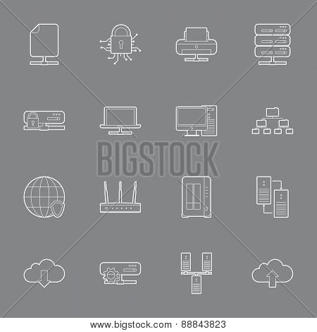 Computer Systems And Networks Thin Lines Icons Set