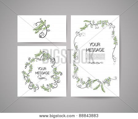 Vector set of invitation cards with cartoon peas and calligraphic elements. Floral card  collection