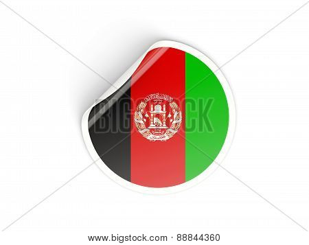Round Sticker With Flag Of Afghanistan