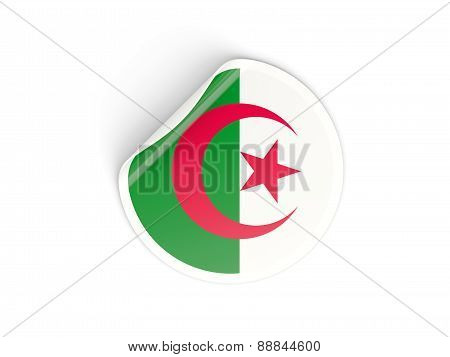 Round Sticker With Flag Of Algeria