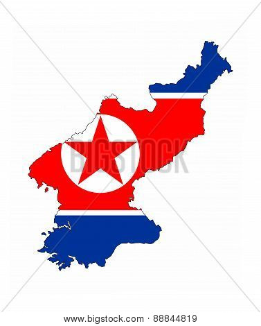 North Korea Flag Map