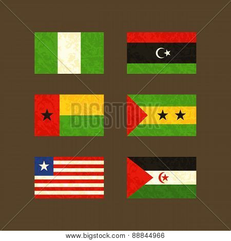 Flags Of Nigeria, Libya, Guinea-bissau, Sao Tomé And Príncipe, Liberia And Western Sahara
