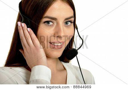 Young nice call operator woman