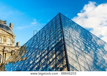 PARIS, FRANCE - CIRCA JAN 2015: View of Inverted Pyramid (architect Pei Cobb Freed, 1993) at the Louvre Museum. Louvre is consistently the most visited museum worldwide.