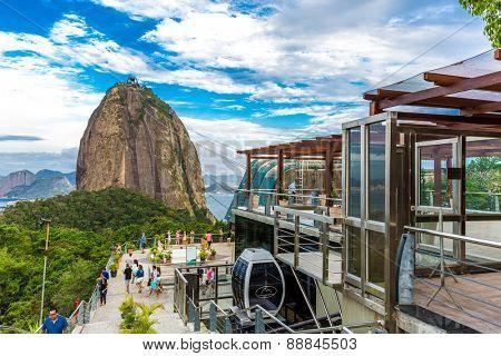 RIO DE JANEIRO, BRAZIL - CIRCA NOVEMBER 2014: Tourists at the Sugarloaf Mountain in Rio de Janeiro, Brazil.