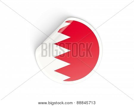 Round Sticker With Flag Of Bahrain